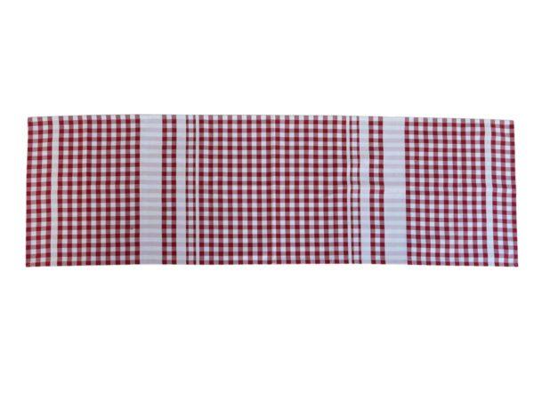 Chemin de table tissu carreaux rouge et blanc