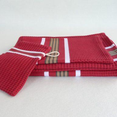 Drap de bain en coton rouge tuile NID D'ABEILLE
