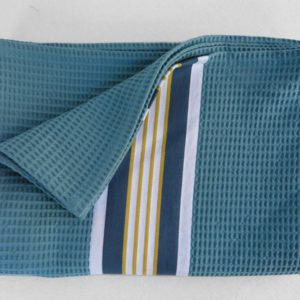 Drap de bain en coton bleu NID D'ABEILLE
