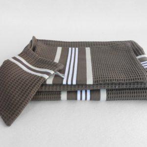 Set drap de bain, serviette, gant de toilette en coton gris NID D'ABEILLE