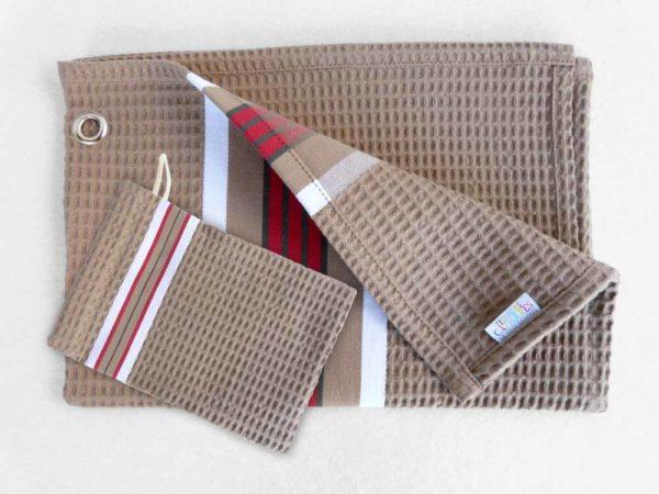 Ensemble serviette gant drap de bain coton marron