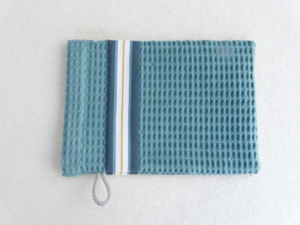 Set drap de bain, serviette, gant de toilette en coton bleu NID D'ABEILLE