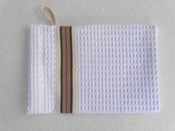 Set drap de bain, serviette, gant de toilette en coton blanc NID D'ABEILLE