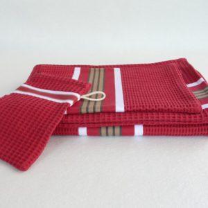 Set drap de bain, serviette, gant de toilette en coton rouge tuile NID D'ABEILLE