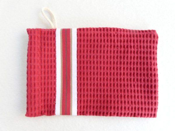 Gant de toilette en coton rouge tuile NID D'ABEILLE