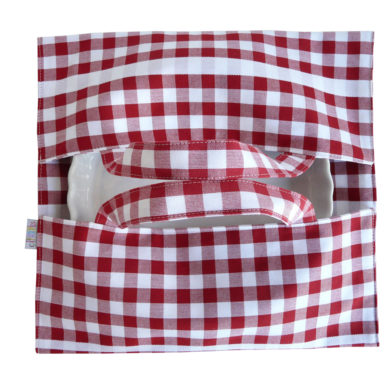 Sac à tarte – Porte Plat à carreaux rouge GUINGUETTE
