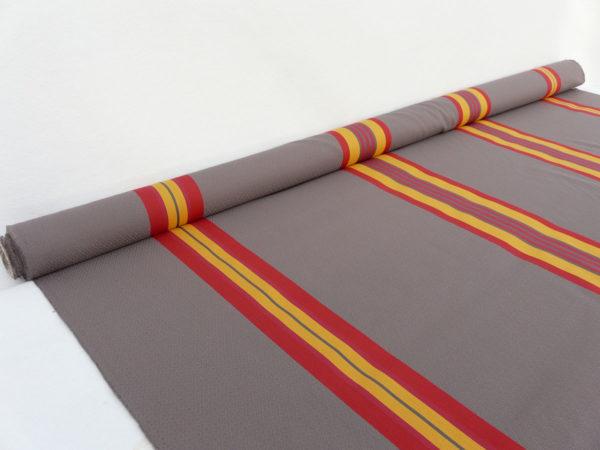 Tissu au mètre en coton et lin damassé rouge PUIVERT