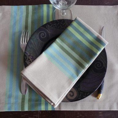set-de-table-tissu-vert-authentique