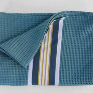 Serviette de bain en coton bleu NID D'ABEILLE