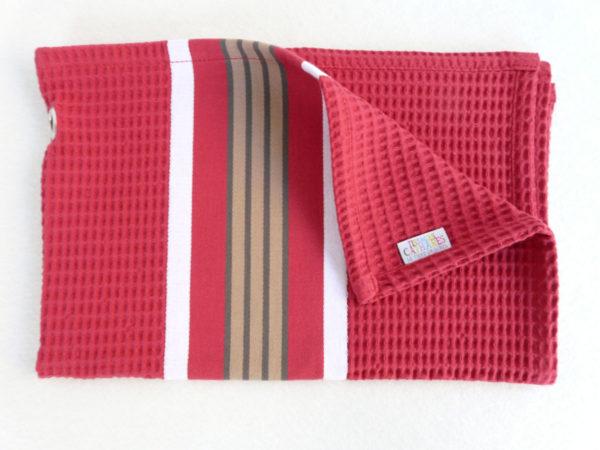 Serviette de bain en coton rouge NID D'ABEILLE