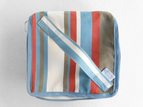 Trousse vanity en coton bleu blanc
