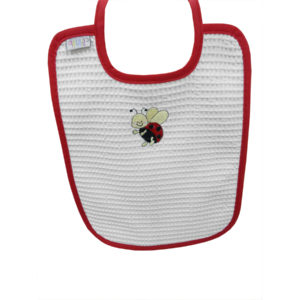 Bavoir en nid d'abeille broderie Coccinelle