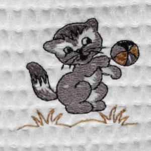 Bavoir en nid d'abeille broderie Chaton