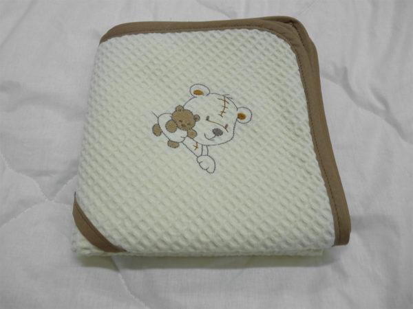 Cape de bain bébé en nid d'abeille broderie Ourson