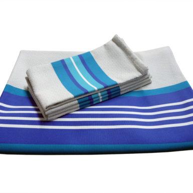 Ensemble nappe et serviettes en coton bleu océan PUIVERT