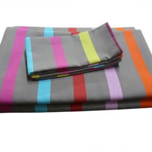 Ensemble nappe et serviettes en coton gris TUTTI FRUTTI