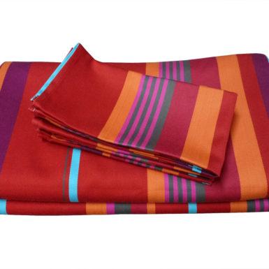 Ensemble nappe et serviettes en tissu rouge MIREPOIX