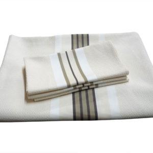 Ensemble nappe et serviettes en coton naturel PUIVERT