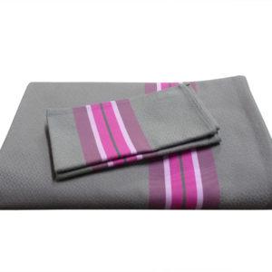 Ensemble nappe et serviettes gris anthracite et rose PUIVERT
