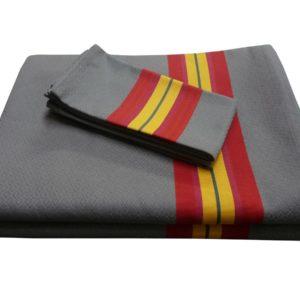 Ensemble nappe et serviettes en coton rouge et or PUIVERT