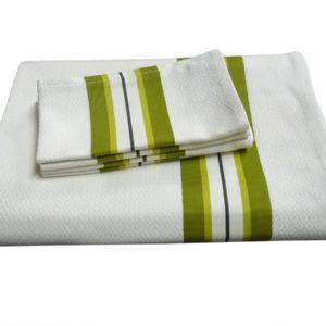 Ensemble nappe et serviettes vert et naturel PUIVERT