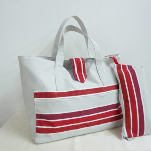 Sac fourre tout rayure rouge TISSAGES CATHARES