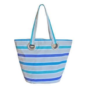 Sac shopping en toile rayure bleue TISSAGES CATHARES