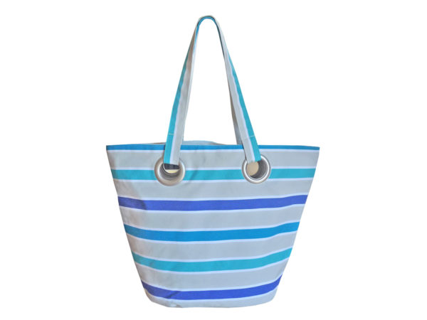 Sac shopping en toile rayure bleue TISSAGES CATHARES
