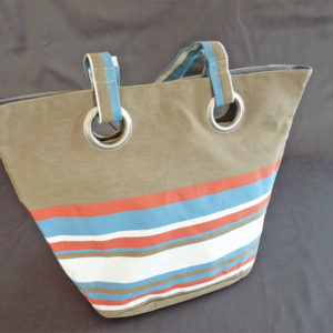 Sac shopping bleu Azur et rouge TISSAGES CATHARES
