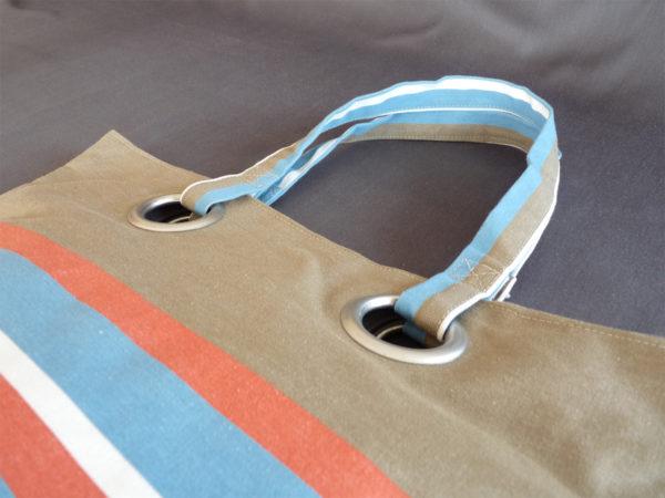 Sac shopping bleu Azur et rouge TISSAGES CATHARES