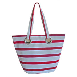 Sac shopping en tissu rayure rouge TISSAGES CATHARES
