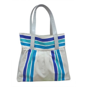 Sac toile et cuir rayure bleue TISSAGES CATHARES