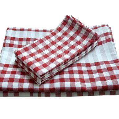 Ensemble nappe et serviettes vichy rouge GUINGUETTE