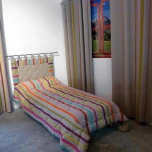 Tête de lit en tissu rayure beige TUTTI FRUTTI