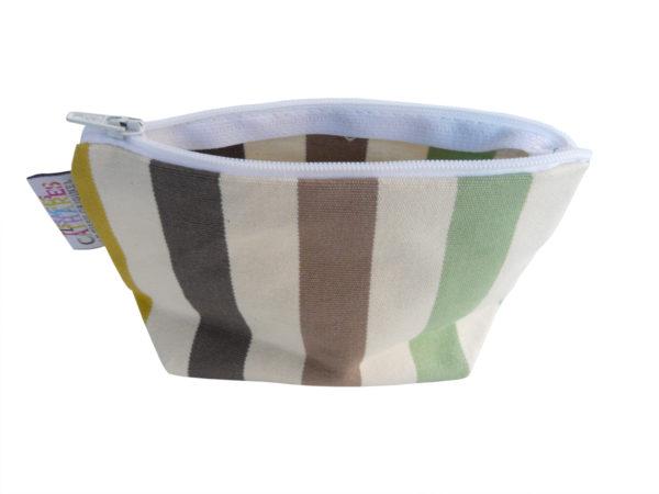 Trousse de toilette tissu rayure verte verticale CAMON
