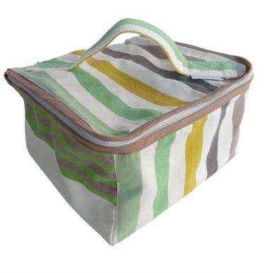 Trousse vanity tissu rayé vert CAMON