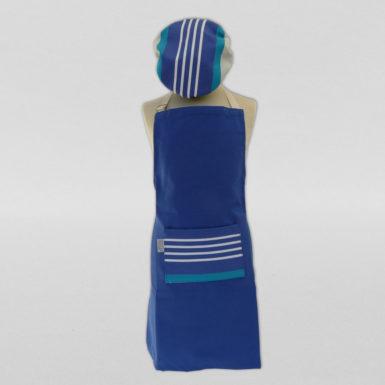 Calot-et-tablier-de-cuisine-coton-bleu-rayé-3