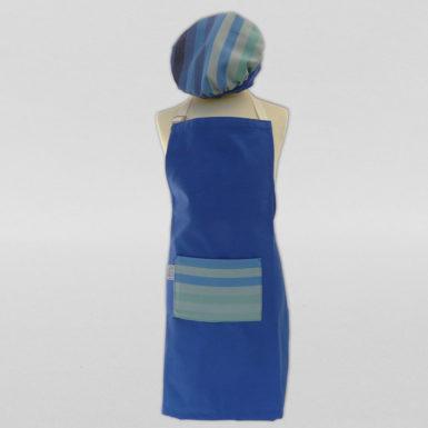 Calot-et-tablier-de-cuisine-coton-bleu-rayé-multicolore-3
