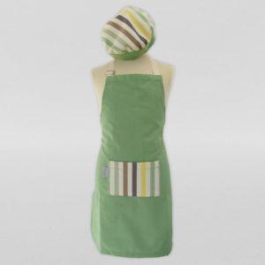 Calot-et-tablier-de-cuisine-coton-vert-blanc-rayé-3
