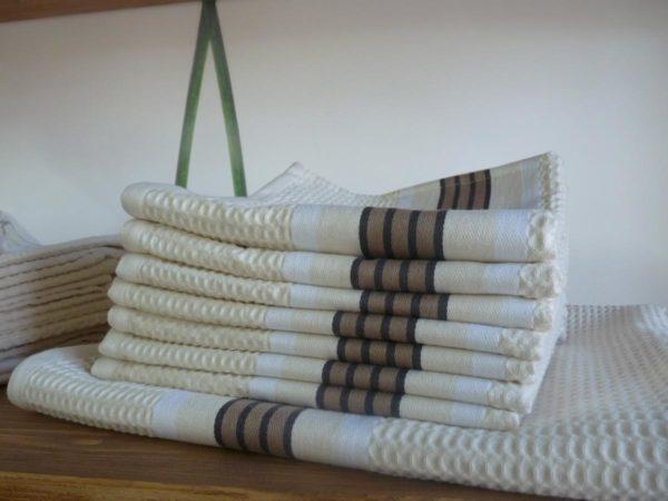 Set de bain complet en coton naturel NID D'ABEILLE