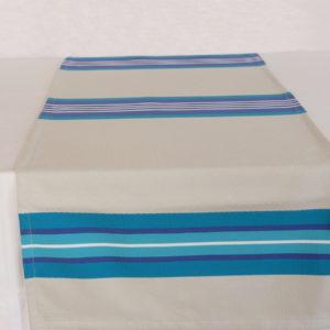 Chemin de table en coton bleu et blanc PUIVERT