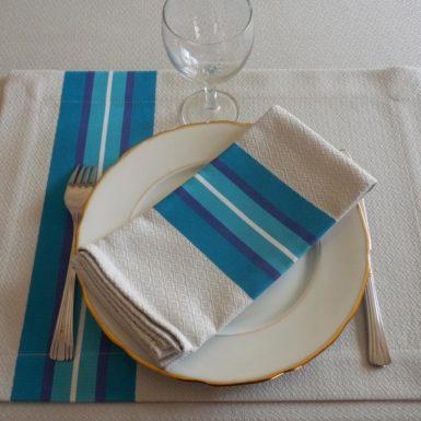 set de table tissu rectangulaire bleu puivert