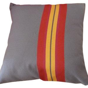 Coussin déhoussable gris et rouge PUIVERT