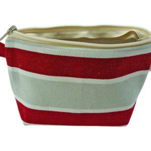 Porte-monnaie à rayures rouges TISSAGES CATHARES