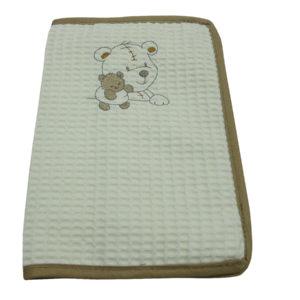 Protège carnet de santé en nid d'abeille broderie Ourson