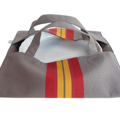 Sac à tarte – Porte Plat gris et rouge PUIVERT