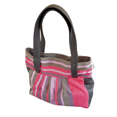 Sac toile et cuir rose TISSAGES CATHARES