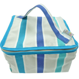 Trousse vanity rayure bleue TISSAGES CATHARES