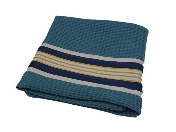 serviette-bain-nid-abeille-bleu
